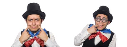 El hombre divertido que lleva la corbata de lazo gigante foto de archivo libre de regalías