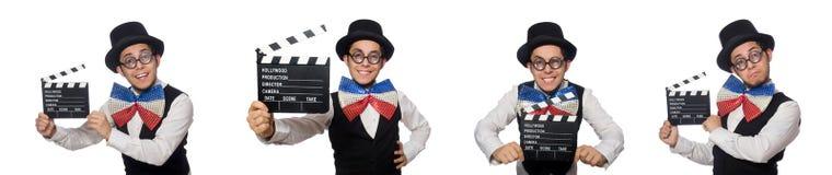 El hombre divertido que lleva la corbata de lazo gigante foto de archivo