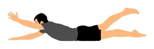 El hombre ejercita la yoga, actitud de la yoga Muchacho activo en el gimnasio que estira y worming para arriba stock de ilustración
