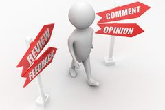 El hombre, el cliente o la otra persona piensa en su reacción, comentario, respuesta, comentario u opinión a una pregunta o a una Imagenes de archivo