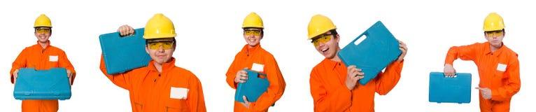 El hombre en batas anaranjadas en blanco Imagen de archivo