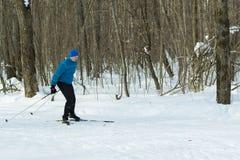 El hombre en el esquí a campo través en bosque del invierno Fotografía de archivo