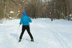 El hombre en el esquí a campo través en bosque del invierno Fotos de archivo