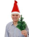 El hombre en el sombrero de Papá Noel fotos de archivo