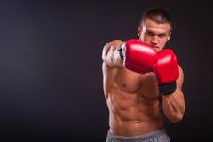 El hombre en guantes de boxeo Imagen de archivo