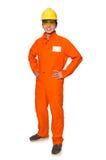 El hombre en las batas anaranjadas aisladas en blanco foto de archivo libre de regalías