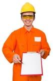 El hombre en las batas anaranjadas aisladas en blanco fotos de archivo libres de regalías