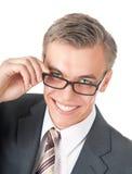 Retrato de un encargado acertado en vidrios Foto de archivo
