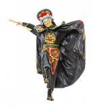 El hombre en samurai adornó el traje con la fan Fotos de archivo libres de regalías