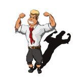El hombre en un traje de negocios muestra el bíceps Imagen de archivo libre de regalías