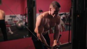 El hombre entra para los deportes, aptitud en el gimnasio almacen de metraje de vídeo