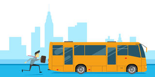 El hombre es atrasado para el trabajo y no tiene tiempo para el autobús libre illustration