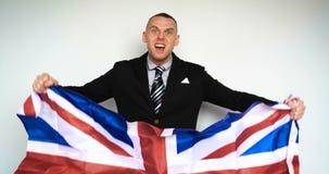 El hombre es un fan del Reino Unido de Gran Bretaña metrajes