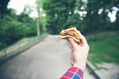 El hombre está comiendo en el parque y está gozando de la comida deliciosa Fotografía de archivo libre de regalías