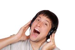 El hombre está escuchando la música Fotografía de archivo libre de regalías