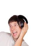 El hombre está escuchando la música Foto de archivo libre de regalías