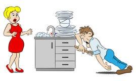 El hombre está lavando los platos en la desesperación stock de ilustración