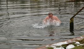 El hombre está nadando en el lago en invierno Fotografía de archivo