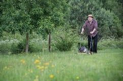 El hombre está segando el césped en verano Fotografía de archivo