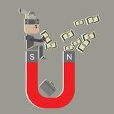 El hombre estupendo del sueldo del vector atrae el dinero para la identificación del dinero Imagen de archivo libre de regalías