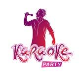 El hombre feliz con el micrófono canta el Karaoke, concer famoso de la superestrella stock de ilustración