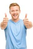 El hombre feliz manosea con los dedos encima del retrato integral de la muestra en el backgroun blanco Imágenes de archivo libres de regalías