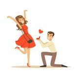 El hombre feliz que propone boda a los caracteres coloridos del arrodillamiento hermoso de la mujer vector el ejemplo stock de ilustración