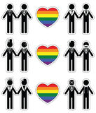 El hombre gay prepara el icono fijado con el elemento 1 del arco iris Imagenes de archivo