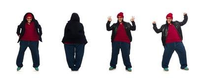El hombre gordo aislado en el blanco imagen de archivo