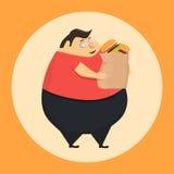 El hombre gordo en el estado de la hipnosis quiere la hamburguesa Imagen de archivo libre de regalías