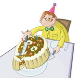 El hombre gordo está cortando el pedazo grande de una empanada stock de ilustración