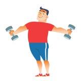El hombre gordo juega deportes con pesas de gimnasia Foto de archivo