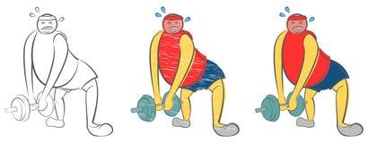 El hombre gordo no puede levantar una pesa de gimnasia pesada Individuo que intenta perder el peso Concepto del cuidado m?dico Ne libre illustration