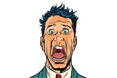 El hombre grita en horror en el fondo blanco libre illustration