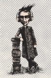 El hombre grotesco en auriculares escucha la música Imagenes de archivo