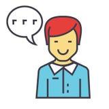 El hombre habla, ayuda del cliente, concepto del servicio de la ayuda del cliente Libre Illustration