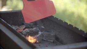 El hombre hace el fuego para una barbacoa El hombre infla el fuego Carbones en un brasero El hombre hace una cena en el patio tra almacen de video