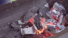 El hombre hace el fuego para una barbacoa El hombre infla el fuego Carbones en un brasero El hombre para balancear una pala sobre almacen de video