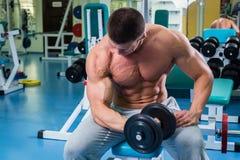 El hombre hace pesas de gimnasia de los ejercicios imagenes de archivo