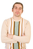 El hombre hermoso feliz joven en suéter aisló imagenes de archivo