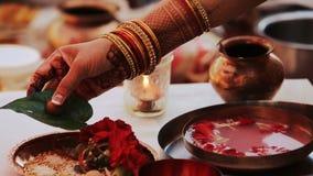 El hombre hindú lleva a cabo sus manos sobre las palmas de la mujer mientras que ella sostiene las hojas del mango almacen de metraje de vídeo