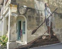 El hombre indio del barco, una de las razas en Penang multicultural, la pintura en Georgetown, Penang imágenes de archivo libres de regalías