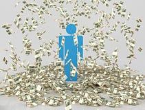 El hombre inundó billetes de banco Fotografía de archivo libre de regalías