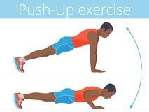 El hombre joven afroamericano activo está haciendo el empujar hacia arriba ejercicio stock de ilustración