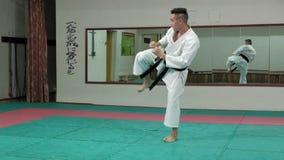 El hombre joven con el cuerpo musculoso, artes marciales de entrenamiento Goju-Ryu Karate-hace cámara lenta estupenda metrajes