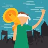 El hombre joven de la demostración gritó en la protesta de grito del ejemplo del vector del altavoz del megáfono demuestra Imágenes de archivo libres de regalías