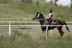 El hombre joven del Kazakh está montando un caballo breeded puro del Kazakh y se está preparando para competir con Imagenes de archivo