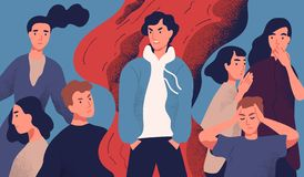 El hombre joven egoísta rechazó por la sociedad debido a su comportamiento molesto Concepto de problema psicológico, comunicación libre illustration