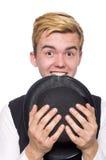 El hombre joven en el chaleco clásico negro aislado encendido Imagen de archivo libre de regalías