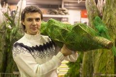 El hombre joven en el sombrero de Papá Noel elige el árbol de navidad Imagen de archivo